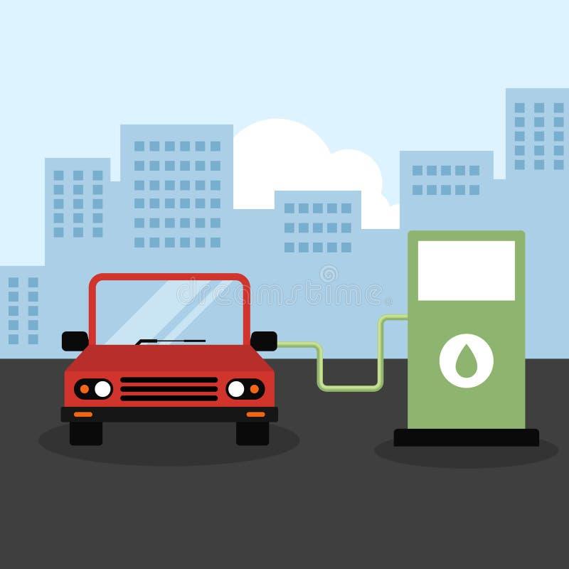Życzliwy samochód przy wodór staci zieleni energii pojęciem ilustracja wektor