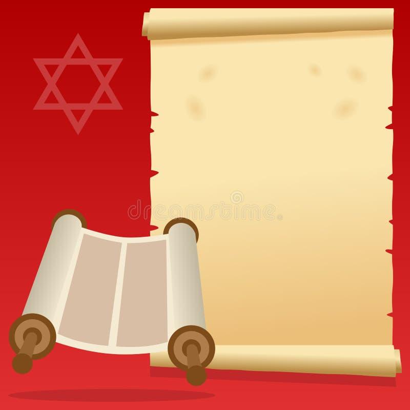 Żydowska Torah ślimacznica i Stary pergamin royalty ilustracja