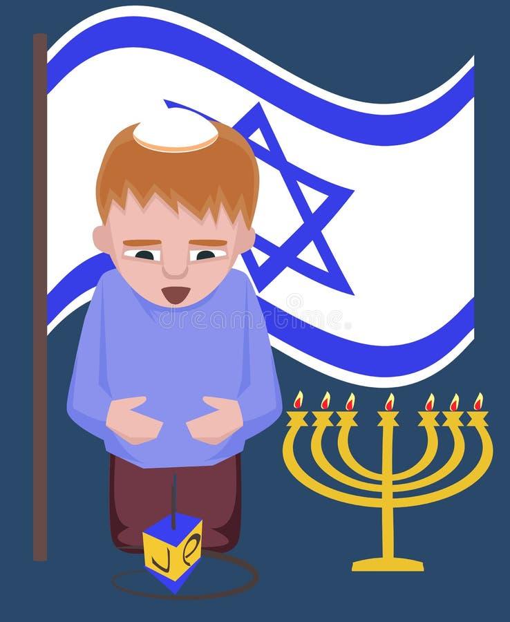 Żydowski dzieciak z przędzalnianym wierzchołkiem, Hanukkah powitania