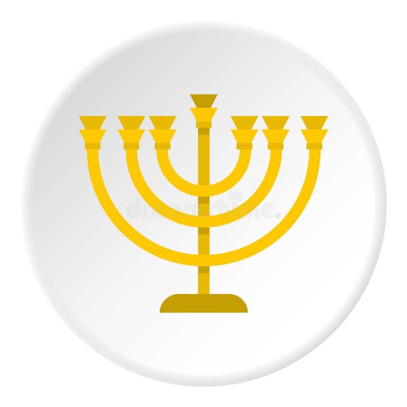 Żydowski Menorah z świeczki ikony okręgiem ilustracji