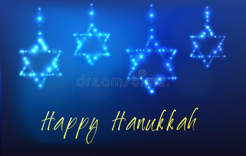 Żydowski wakacyjny Hanukkah kartka z pozdrowieniami ilustracja wektor