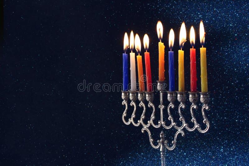 Żydowski Wakacyjny Hanukkah tło z menorah obraz royalty free