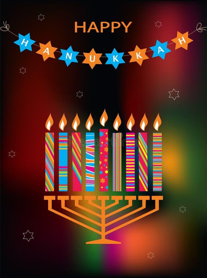 Żydowski wakacyjny Hanukkah z menorah na abstrakcie ilustracji