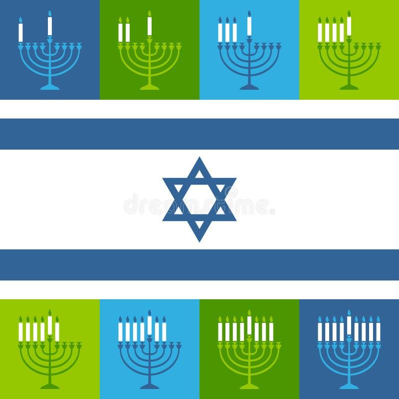 Żydowskie Hanukkah Menorah świeczek ikony ilustracja wektor