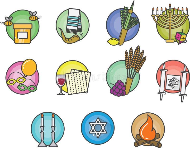 Żydowskie Kolorowe ikony Ustawiać royalty ilustracja