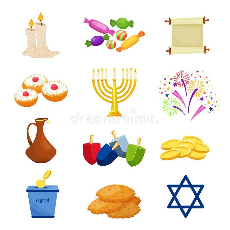 Żydowskie Wakacyjne Hanukkah ikony ustawiać również zwrócić corel ilustracji wektora