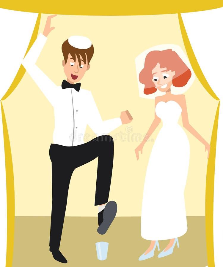 Żydowskiego ślubu tradycyjna ceremonia, łamanie szklana kreskówka royalty ilustracja