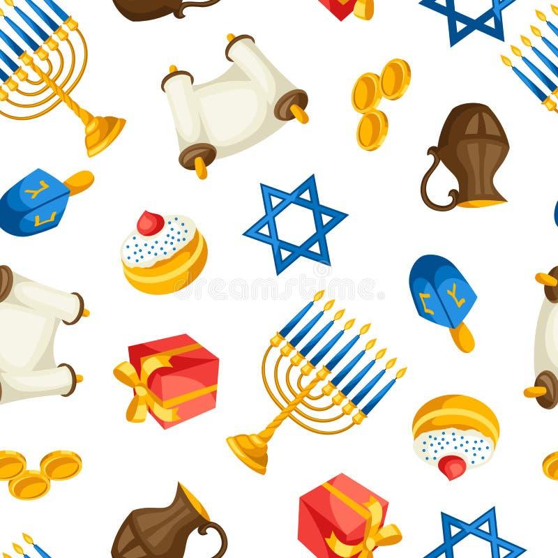 Żydowskiego Hanukkah świętowania bezszwowy wzór z wakacyjnymi przedmiotami ilustracja wektor