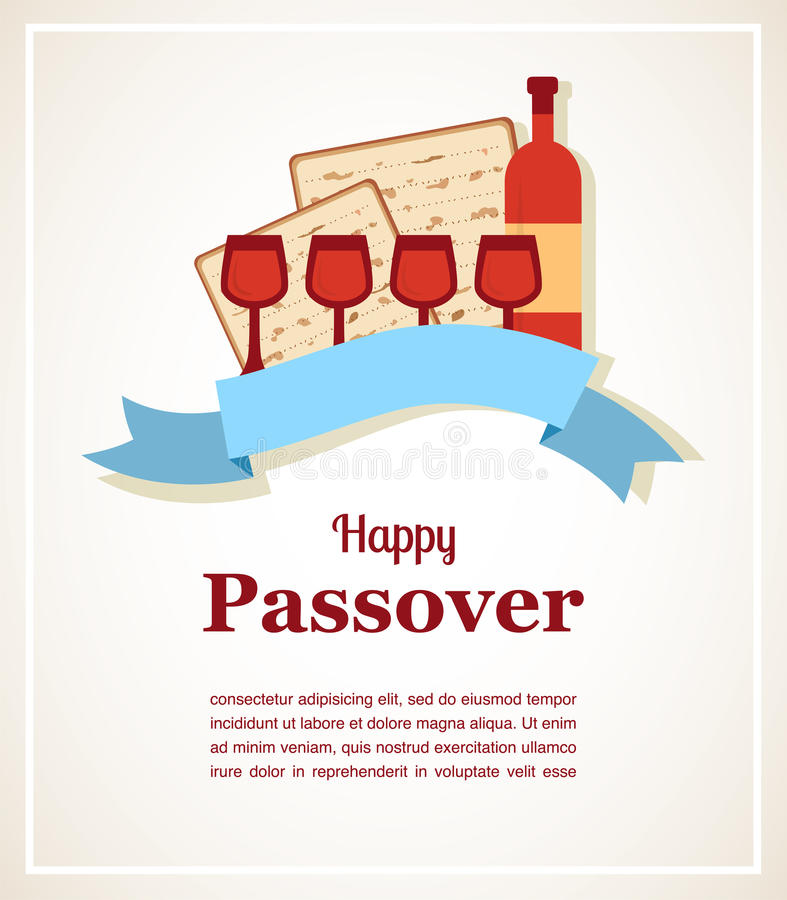 Żydowskiego passover kartka z pozdrowieniami wakacyjny projekt również zwrócić corel ilustracji wektora royalty ilustracja
