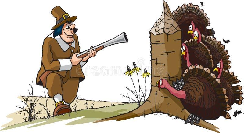 Ye olde Turkey Hunt vector illustration