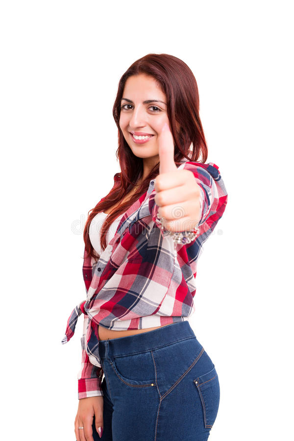 Yeah ! All ok!. Beautiful young woman signaling ok, isolated over white stock photography