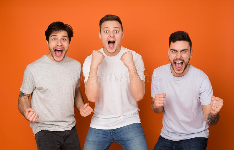 Yeah! Overjoyed friends shouting and celebrating success royalty free stock images