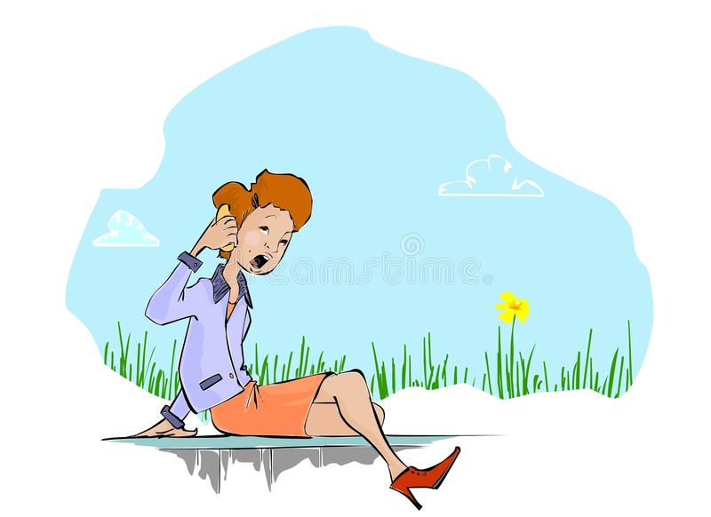 Yeah! uh ok yes. A girl sitting on a small wall in a office suit, is talking on her mobile vector illustration