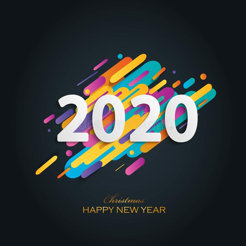 Merry Christmas Happy NEW Year 2020 greeting card stock illustration stock photos