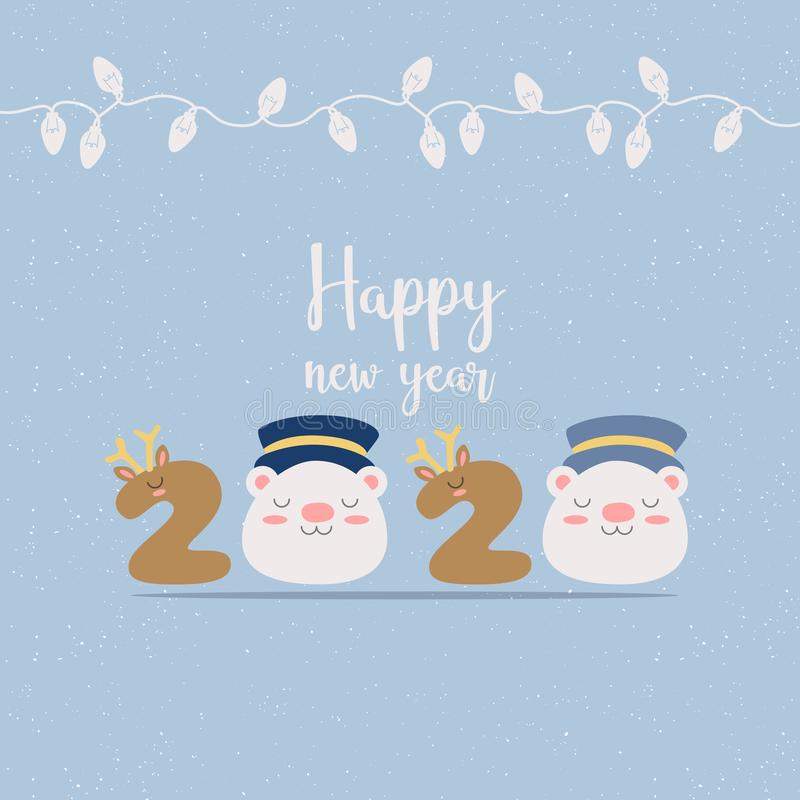 Merry Christmas Happy NEW Year 2020 greeting card stock illustration royalty free stock photography