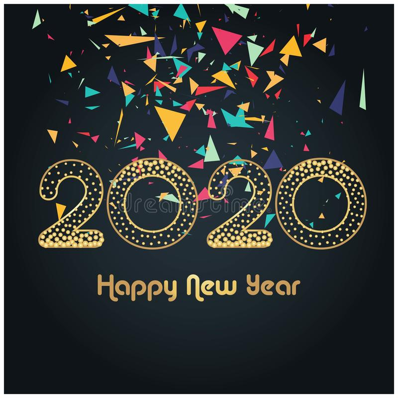 Merry Christmas Happy NEW Year 2020 greeting card stock illustration royalty free stock image