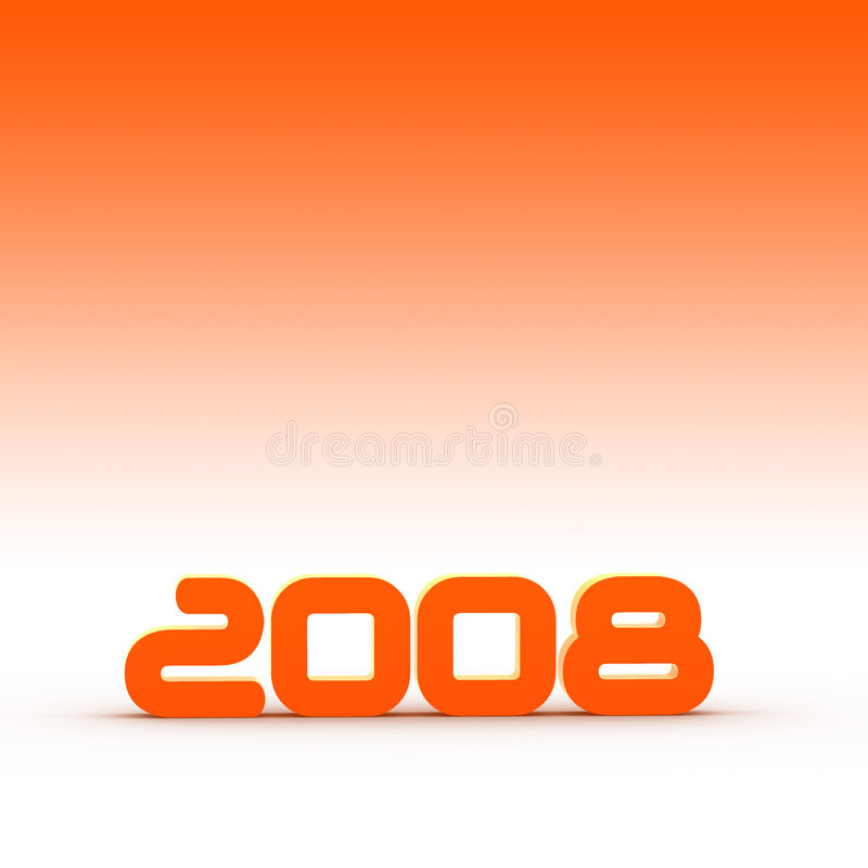 Year 2008. The year 2008 - illustration with orange background vector illustration