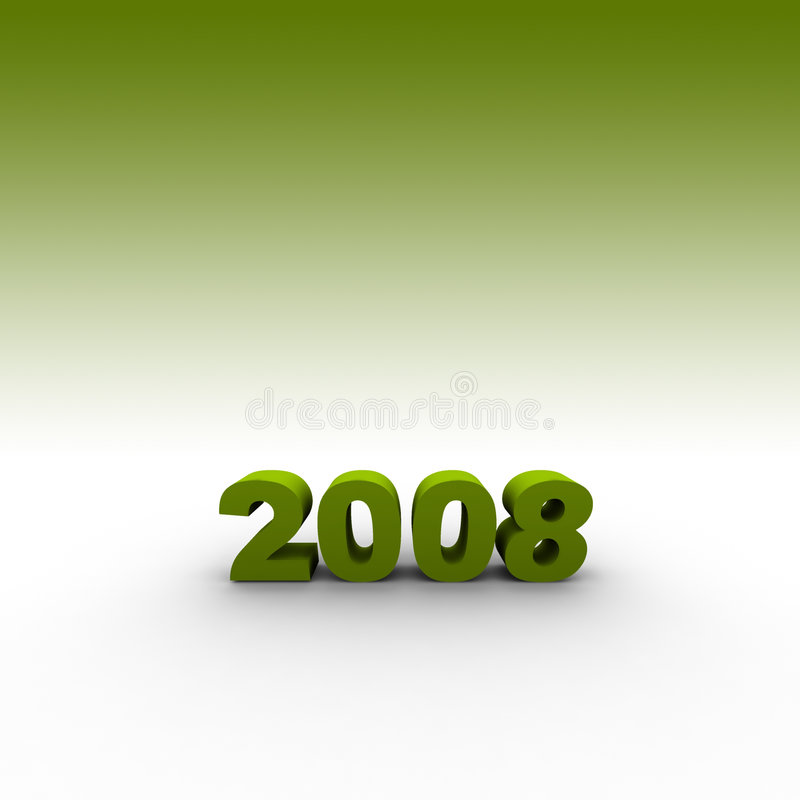 Year 2008. The year 2008 - 3d illustration with green background stock illustration