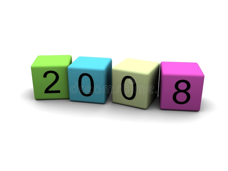 Year 2008 in 3D royalty free stock photos