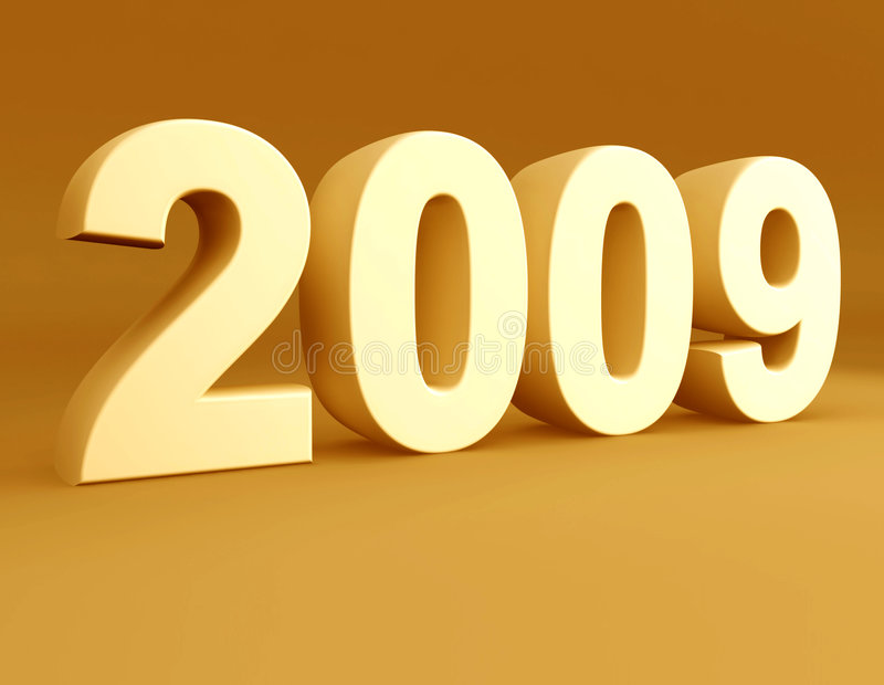 Year 2009 3d rendered royalty free illustration