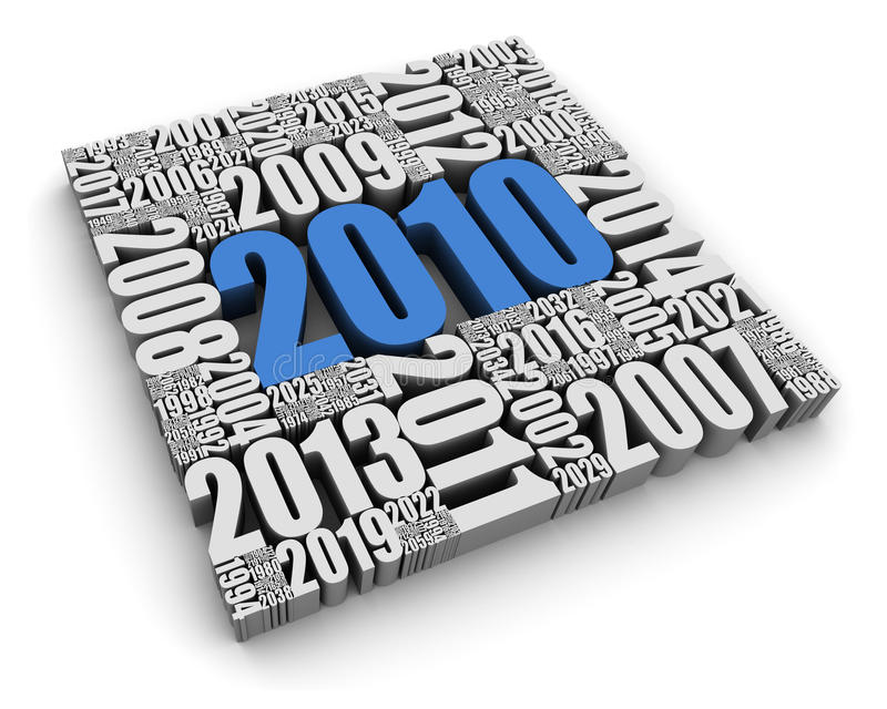 The Year 2010. New year 2010 and the years ahead. Part of a series royalty free illustration