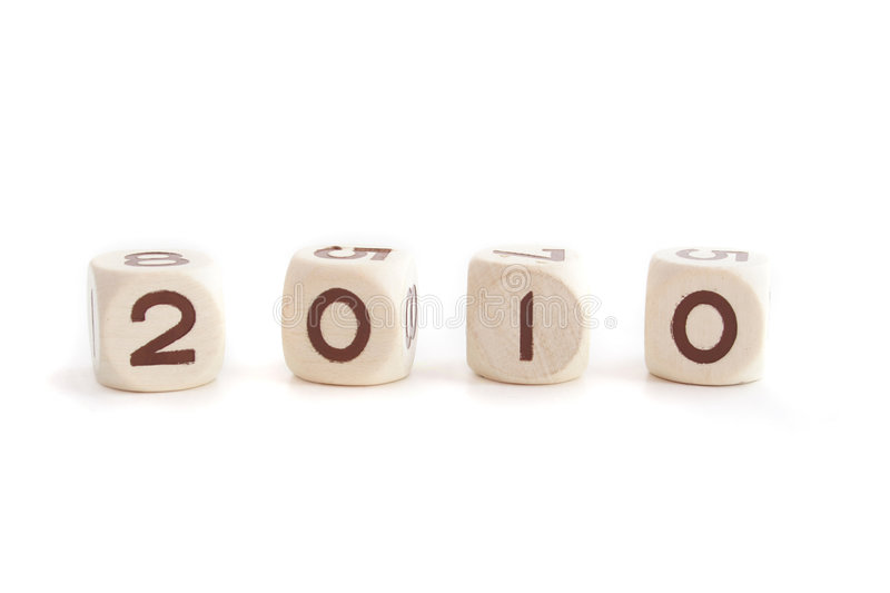 Year 2010. Several dices show the year 2010. All isolated on white background stock photo