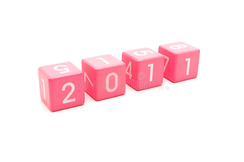 Year 2011. Pink dice with the 2011 year on a white background stock photo