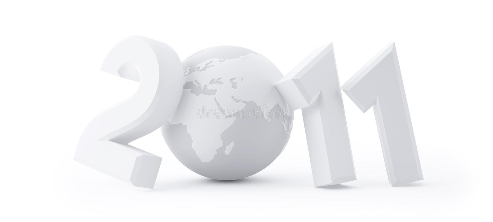 Year 2011 Made Up Of Numbers And Globe As Zero Stock Photo