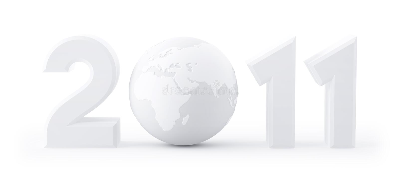 Download Year 2011 Made Up Of Numbers And Globe As Zero Stock Illustration - Image: 16122311