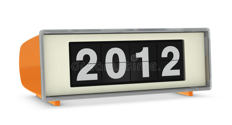 Year 2012. Old digital clock showing year 2012 (3d render stock illustration