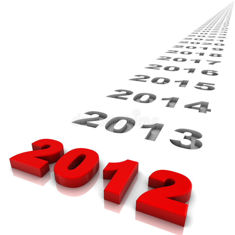 Year 2012. New year 2012 and the years ahead. Part of a series royalty free illustration