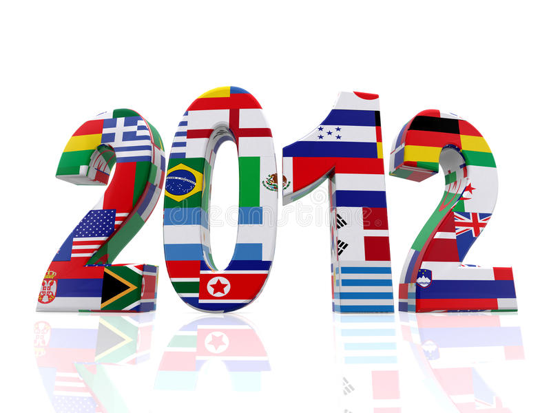 Year 2012 in 3D with flags