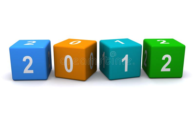 Year 2012 blocks. Three dimensional illustration of colorful blocks spelling 2012 or two thousand and twelve; isolated on white background vector illustration