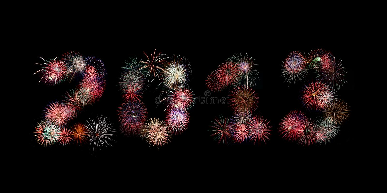 The year 2013 written in fireworks royalty free stock image