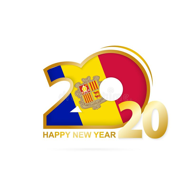 Year 2020 with Andorra Flag pattern. Happy New Year Design. Vector Illustration vector illustration