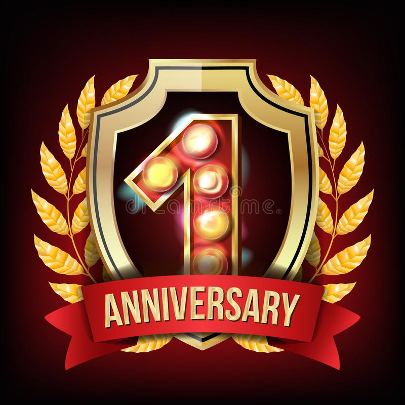 1 Year Anniversary Banner Vector. One Age, First Celebration. Shining Gold Sign. Number One. Laurel Wreath. For Business stock illustration