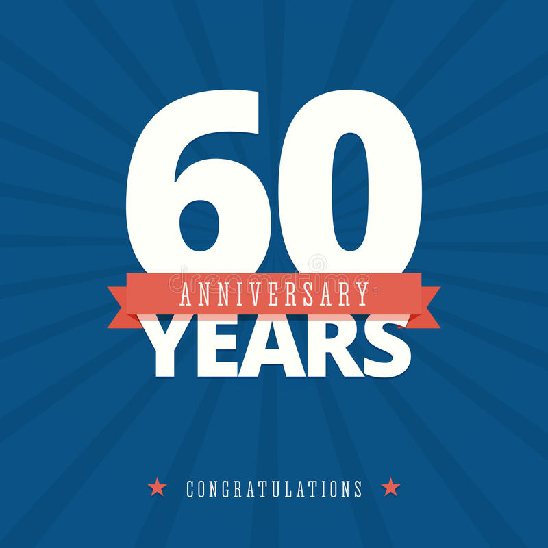 60 year anniversary card, poster template. stock illustration