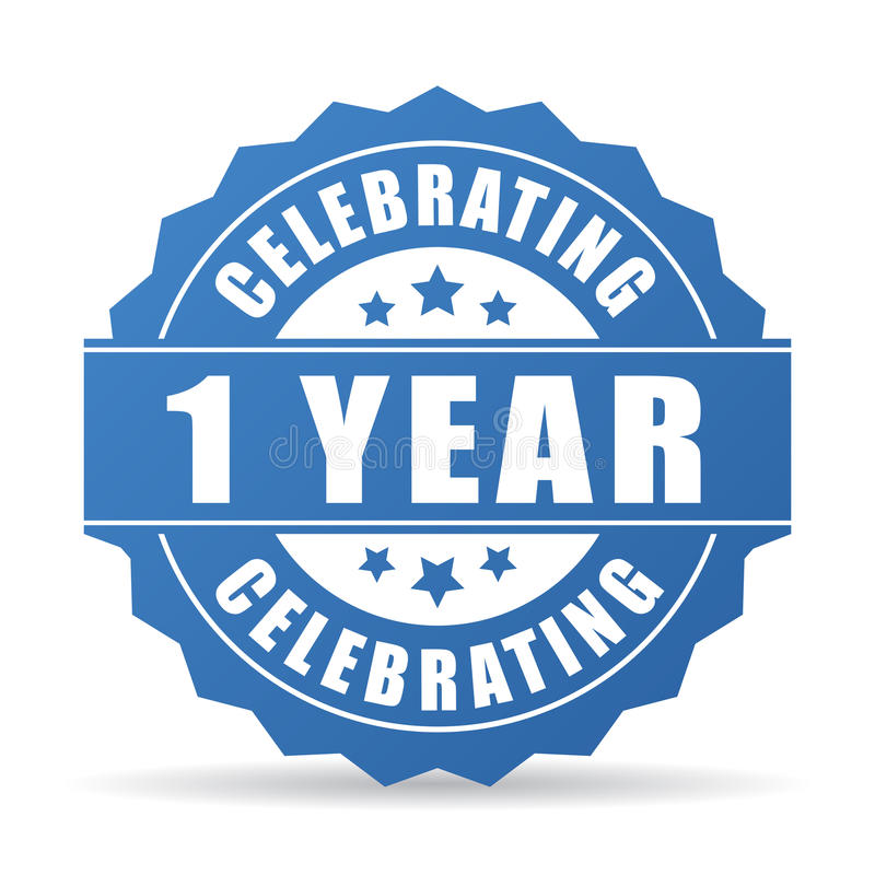 1 year anniversary celebrating vector icon. Isolated on white background royalty free illustration
