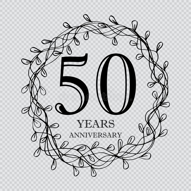 50 year anniversary celebration card stock illustration