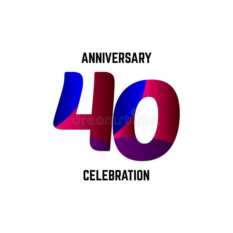 40 Year Anniversary Celebration Logo Vector Template Design Illustration stock illustration