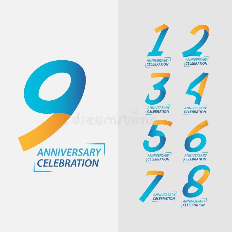9 Year Anniversary Celebration Set Vector Template Design Illustration. Years 9th logo card background birthday number symbol icon modern celebrating decoration stock illustration