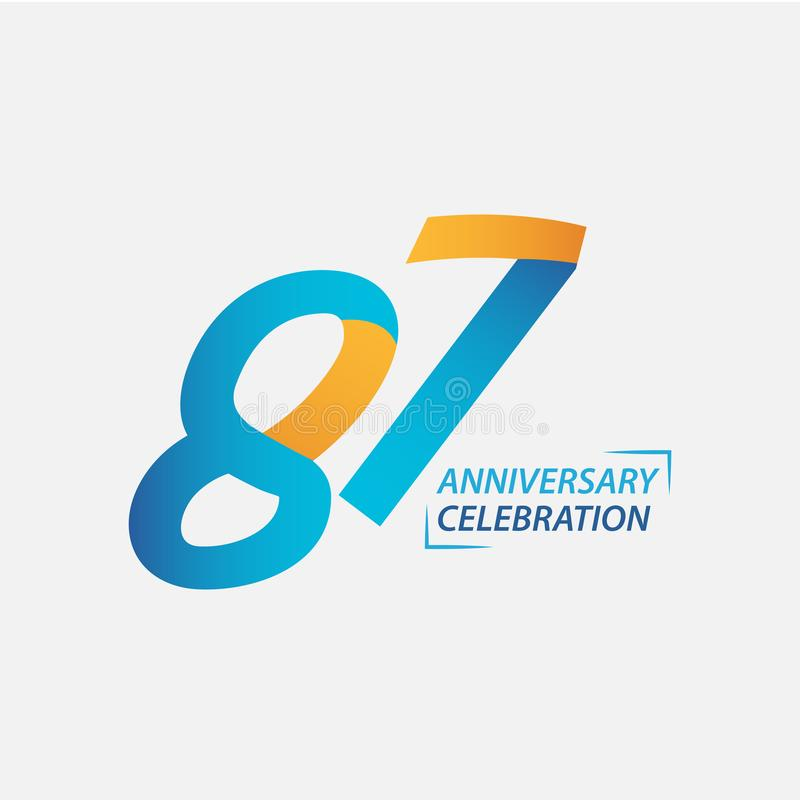 87 Year Anniversary Celebration Vector Template Design Illustration. Years 87th logo background card number birthday symbol icon decoration happy celebrating stock photography
