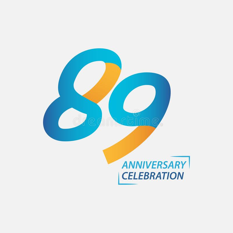 89 Year Anniversary Celebration Vector Template Design Illustration. Years 89th logo background card number birthday symbol icon decoration happy celebrating stock photography