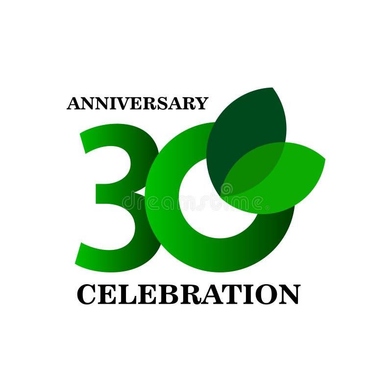 30 Year Anniversary Celebration Vector Template Design Illustration. Years 30th logo background card number birthday symbol icon decoration happy celebrating royalty free illustration