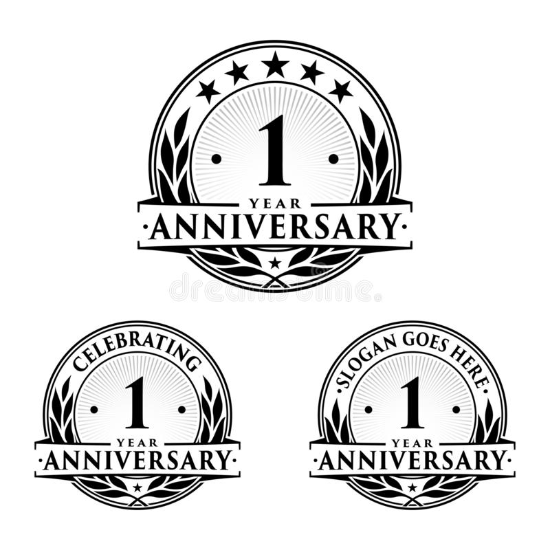1 year anniversary design template. Anniversary vector and illustration. 1st logo. royalty free illustration