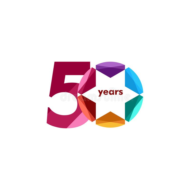 50 Year Anniversary Diamond Star Vector Template Design Illustration stock illustration