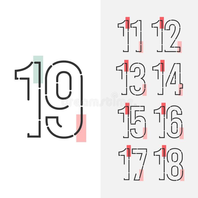 19 Year Anniversary Set Celebration Vector Template Design Illustration vector illustration