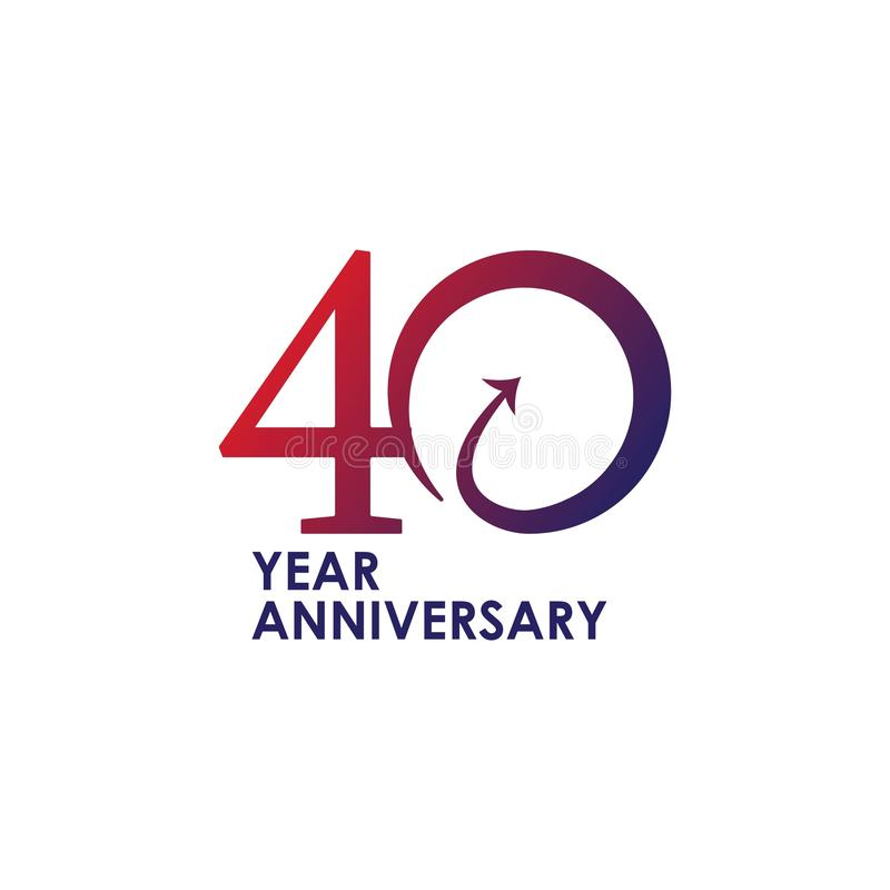 40 Year Anniversary Vector Design Illustration stock illustration