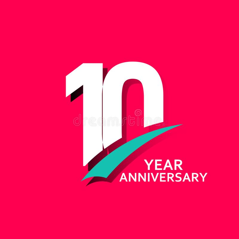10 Year Anniversary Vector Template Design Illustration. Year Anniversary Vector Template Design Illustration royalty free illustration