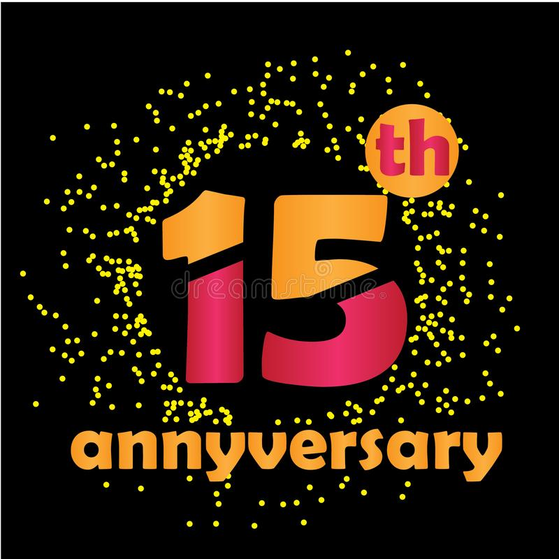 15 Year Anniversary Vector Template Design Illustration - Vector vector illustration